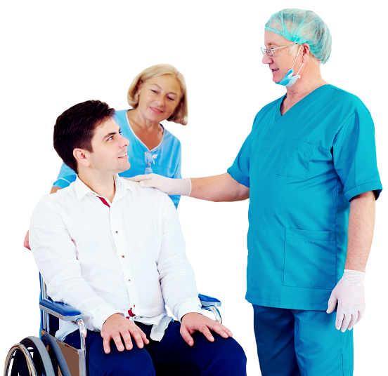 patient in a wheelchair talking to a doctor